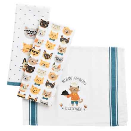 Envogue Pets Kitchen Towel - Set of 3 in Cat Evening Blues - Closeouts