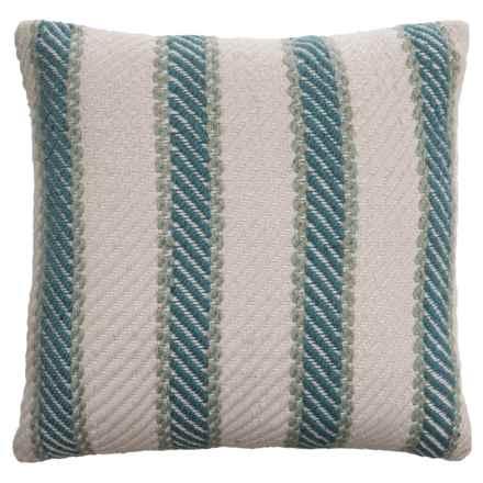 """EnVogue Quinton Stripe Woven Outdoor Throw Pillow - 20x20"""" in Aqua - Closeouts"""