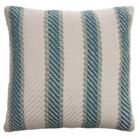 "EnVogue Quinton Stripe Woven Outdoor Throw Pillow - 20x20"" in Aqua"