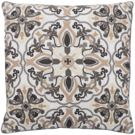 """EnVogue Rianaa Throw Pillow - 20x20"""", Feathers in Charcoal"""