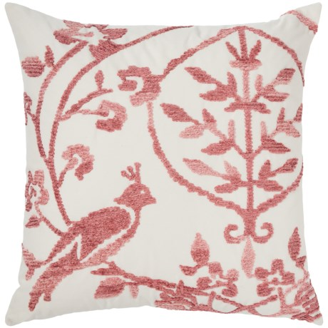 """EnVogue Robin Chenille-Embroidered Throw Pillow - 20x20"""", Feathers in Blush"""