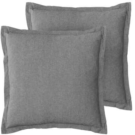 """EnVogue Sade Chambray Throw Pillow - 20x20"""", Set of 2, Feathers in Charcoal - Closeouts"""