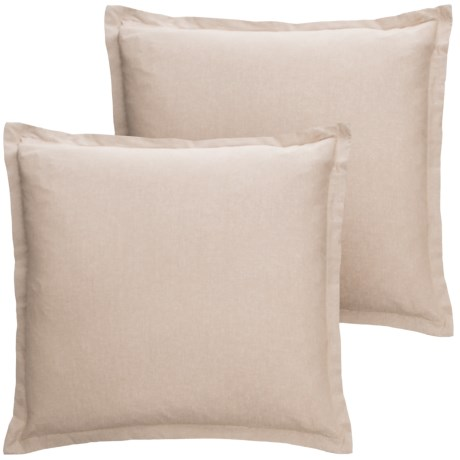 """EnVogue Sade Chambray Throw Pillow - 20x20"""", Set of 2, Feathers in Natural"""