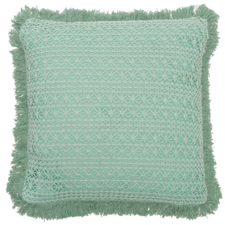 "EnVogue Sakai Knit and Lace Throw Pillow - 20x20"", Feathers in Seafoam"