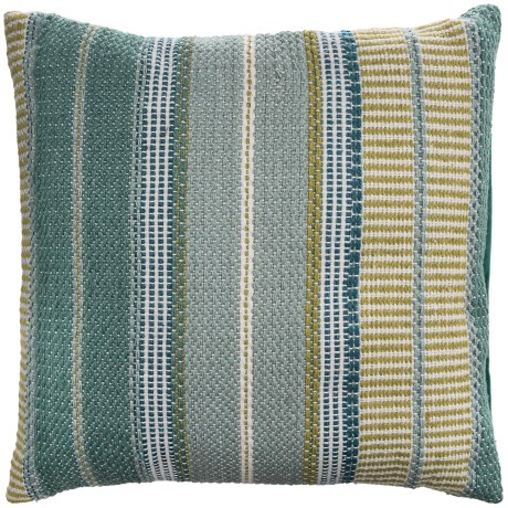 "EnVogue Stripe Woven Outdoor Throw Pillow - 22x22"" in Turquoise"