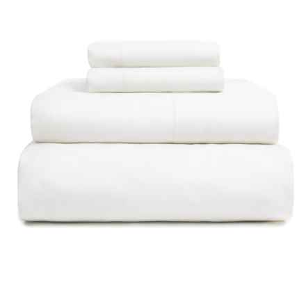 EnVogue Suffolk Washed Cotton Percale Sheet Set - Full, 200 TC in Dover White - Overstock