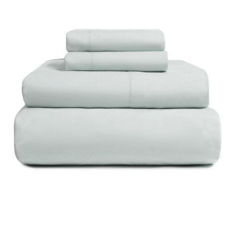 EnVogue Suffolk Washed Cotton Percale Sheet Set - Queen, 200 TC in Moon Mist