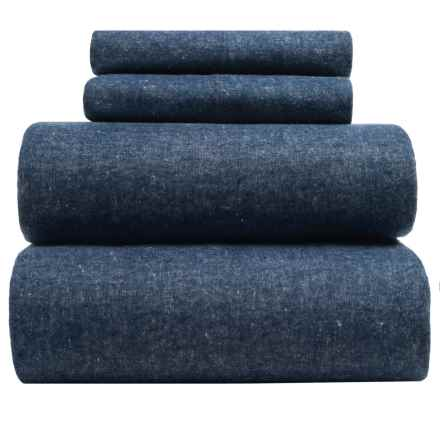 Envogue Yarn-Dyed Flannel Sheet Set - Full, 200 TC in Blue - Closeouts