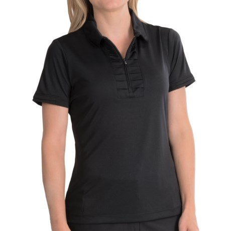 EP Pro Fancy That Polo Shirt Zip Neck Short Sleeve For Women