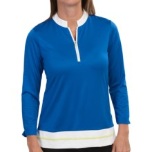 EP Pro Ingenue Polo Shirt - UPF 50+, Zip Neck, 3/4 Sleeve (For Women) in Fountain Blue Multi - Closeouts