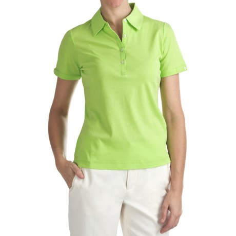 EP Pro Liquid Cotton Jersey Polo Shirt - Short Sleeve (For Women) in Lime
