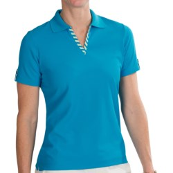 EP Pro Stripe Trimmed Tour-Tech Polo Shirt - Short Sleeve (For Women) in Turquoise Multi
