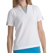 EP Pro Stripe Trimmed Tour-Tech Polo Shirt - Short Sleeve (For Women) in White Multi - Closeouts