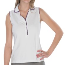 EP Pro Tour Dry Jersey Y-Neck Polo Shirt - Sleeveless (For Women) in White Multi - Closeouts