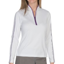 EP Pro Tour Tech Brushed Polo Shirt - Zip Neck, Long Sleeve (For Women) in White Multi - Closeouts