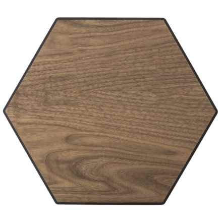 "Epicurean Display Series Hexagon Serving Tray and Cutting Board - 11.25x13"" in Walnut/Slate - 2nds"