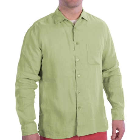 EQ by Equilibrio Garment-Washed Linen Shirt - Long Sleeve (For Men) in Avocado