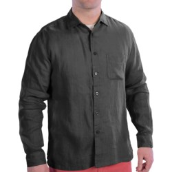 EQ by Equilibrio Garment-Washed Linen Shirt - Long Sleeve (For Men) in Black