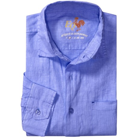 EQ by Equilibrio Solid Linen Shirt - Long Sleeve (For Men) in Blue