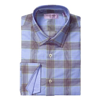 Equilibrio Gingham Plaid Sport Shirt - Egyptian Cotton, Long Sleeve (For Men) in Blue/Brown