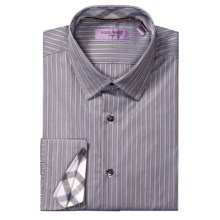 Equilibrio Satin Stripe Sport Shirt - Testa®, Long Sleeve (For Men) in Brown/White - Closeouts
