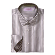 Equilibrio Satin Stripe Sport Shirt - Testa®, Long Sleeve (For Men) in White/Brown - Closeouts
