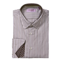 Equilibrio Satin Stripe Sport Shirt - Testa®, Long Sleeve (For Men) in White/Brown