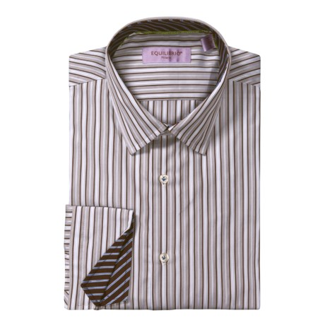 Equilibrio Satin Stripe Sport Shirt - Testa®, Long Sleeve (For Men) in White/Brown