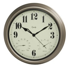 "Equity by La Crosse Technology 15"" Clock - Temperature and Humidity Display in Silver - Closeouts"