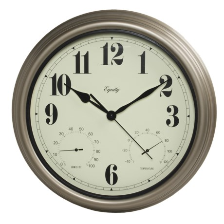 "Equity by La Crosse Technology 15"" Clock - Temperature and Humidity Display in Silver"