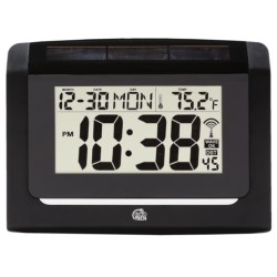 Equity by La Crosse Technology Hybrid Solar Atomic Wall Clock in Black