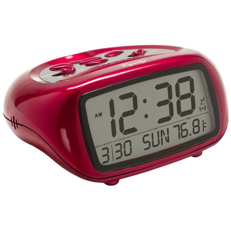 Equity by La Crosse Technology LCD Digital Alarm Clock with Temperature in Red