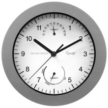"Equity by La Crosse Technology Thermometer and Humidity Wall Clock - 10"" in Silver - Overstock"