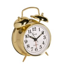 Equity by La Crosse Technology Twin Bell Analog Alarm Clock in Brass - Closeouts