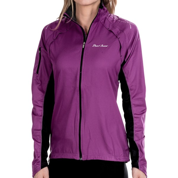 CLOSEOUTS . For outdoor aerobic activity, Pearl Izumiand#39;s Infinity jacket is tough to beat, with its light weight, wind- and water-resistant protection, breathability and trim, drag-reducing fit. Available Colors: MOAB / MANGO, BLACK/PARADISE PINK, SCUBA BLUE/SHADOW GREY, SCREAMING YELLOW/BLACK, ORCHID/BLACK. Sizes: XS, S, M, L, XL.