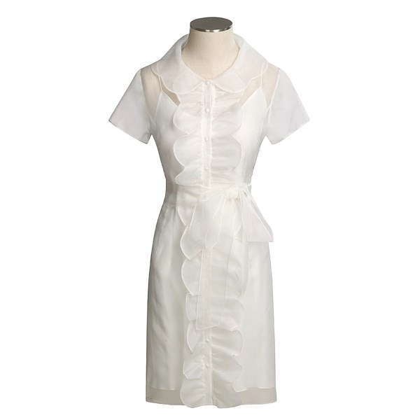 Flores & Flores Valentino Silk Chiffon Dress - Short Sleeve (For Women)