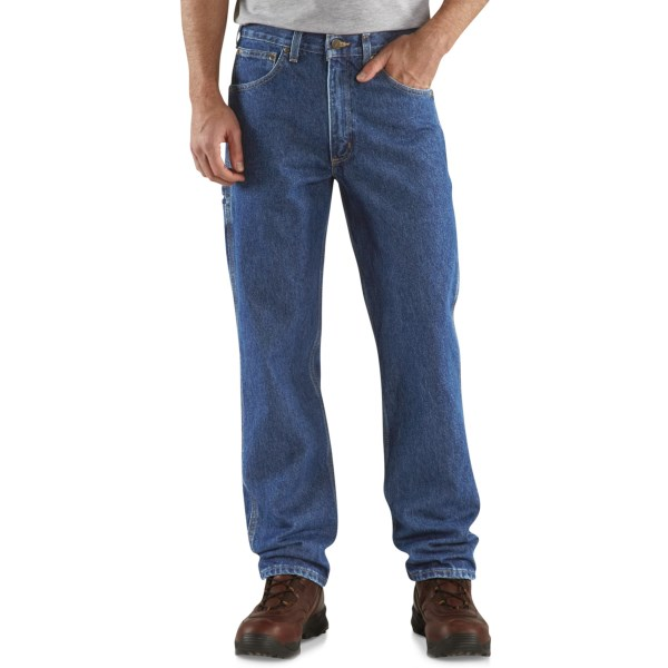 2NDS , barely perceptible blemishes. Pull on these Carhartt carpenter jeans and work all day in relaxed fit comfort. Even with a full load of tools and all those unusual body positions, your jeans will work with you, not against you. Available Colors: DARK STONE WASH.