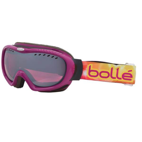 CLOSEOUTS . Bolle Simmer goggles are all about looking good and keeping your vision crystal clear on the slopes. Spherical lens matches the curvature of the eye for amazing optical quality. Available Colors: CRYSTAL BROWN PAISLEY W/AMBER GUN, LEOPARD W/CITRUS GUN, PEARL W/VERMILLION GUN, PINK FLOWER/VERMILLION GUN, GOLD/VERMILLION GUN, RASPBERRY/VERMILLION GUN, BLACK FLOWER/VERMILLION GUN.