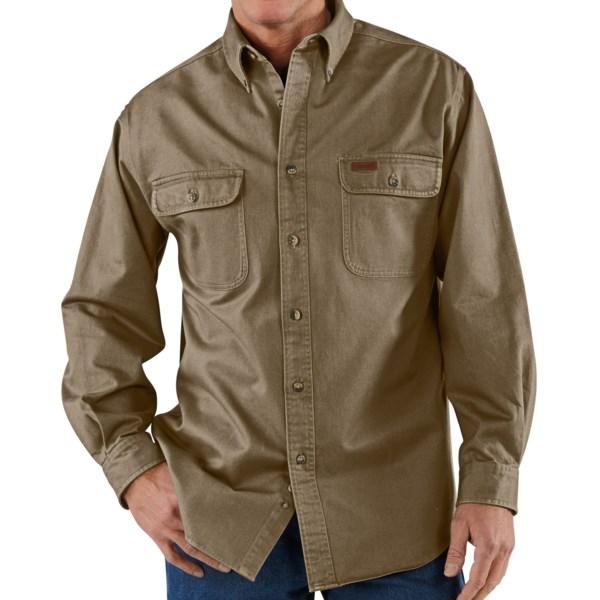 Carhartt Heavyweight Cotton Shirt   Long Sleeve (For Men)   DARK BROWN (XL )