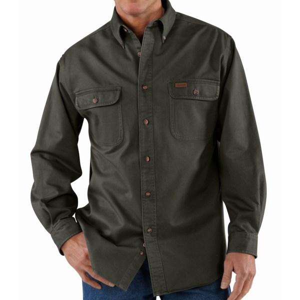 Carhartt Heavyweight Cotton Shirt   Long Sleeve (For Men)   MOSS (L )