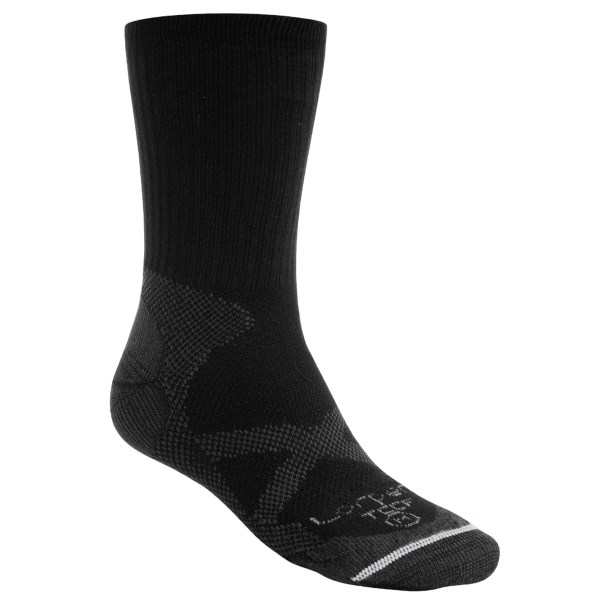 CLOSEOUTS . Day hikers and warm-weather adventurers rejoice! Lorpen?s CoolMax(R) Thin trekking socks are designed especially for you. Moisture-wicking, quick-drying CoolMax(R) makes for a comfortable, cool foot all day long.    Lycra(R) blend allows for stretch without sagging    Lightweight    Crew height    Fabric: 75% CoolMax(R) polyester, 15% nylon, 10% Lycra(R)    Care: Machine wash/dry     CLOSEOUTS . Mexico.    Size:  S (W 41_2-61_2, M 3-5)  M (W 7-11, M 51_2-91_2)  L (W 11.5 , M 10-121_2)  XL (M 13 )  Available Colors: OLIVE, TAN, BLACK, WHITE. Sizes: S, M, L, XL.