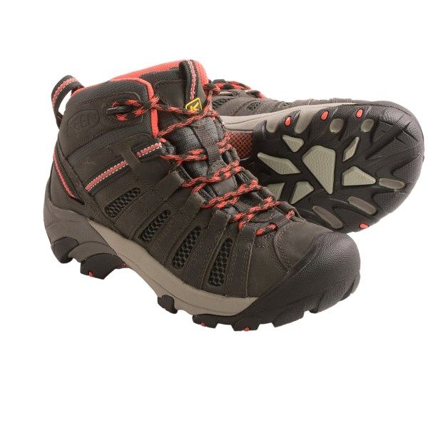 CLOSEOUTS . Ready to become the adventurous type? It?s hard not to when you?re wearing Keen?s Voyageur hiking boots; they?re designed with a mid-level height to protect the foot and ankle without weighing you down. Multi-directional lugs on the outsole bite into gravel, mucky terrain, and steep ascents and descents with ease, making every voyage just that much more enjoyable. Available Colors: DARK EARTH/RUST, DRIZZLE/SURF SPRAY, RAVEN/HOT CORAL. Sizes: 5, 5.5, 6, 6.5, 7, 7.5, 8, 8.5, 9, 9.5, 10, 10.5, 11.