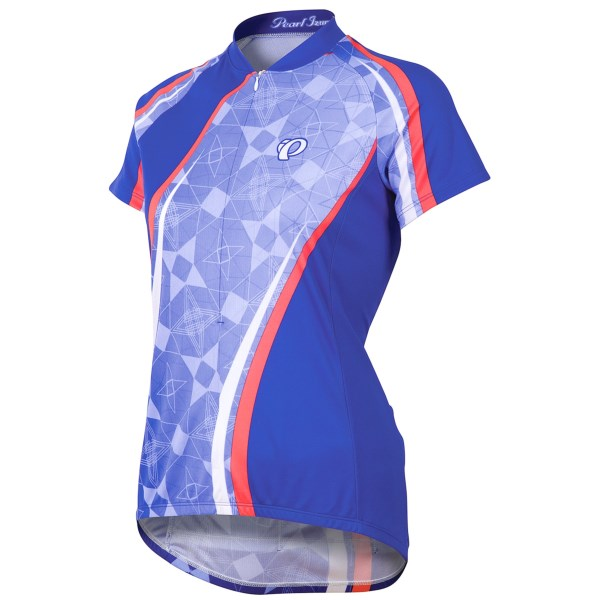 CLOSEOUTS . Pearl Izumi?s Limited Edition Garmin-Inspired cycling jersey features bright designs as worn by the professional cycling team. Available Colors: GARMIN INSPIRED BLUE/ORANGE, PARADISE PINK, TIGER SCUBA BLUE, FLEURETTE SCUBA BLUE, FLEURETTE ORCHID, COLORADO STATE, FLORIDA STATE, CALIFORNIA STATE, DATA BLACK, GALAXY DAZZLING BLUE, STRIPE FLOWER PURPLE HAZE, STRIPE FLOWER BLUE HAZE, COLORADO DAZZLING BLUE, TRIANGLE BLACKBERRY, TRIANGLE DAZZLING BLUE, FLOWER MEADOW MAUVE, FLOWER LIVING CORAL, CROSS LINE MEADOW MAUVE, SELECT BIG IP GUMDROP, RAINBOW LIVING CORAL, RAINBOW BLUE, COLORADO 15, WAVE OF TILE BLACKBERRY. Sizes: XS, S, M, L, XL, 2XL.