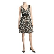 Ellen Tracy Shadow Dot Print Surplice Dress - Voile, Short Sleeve (For Women) - Save 53%