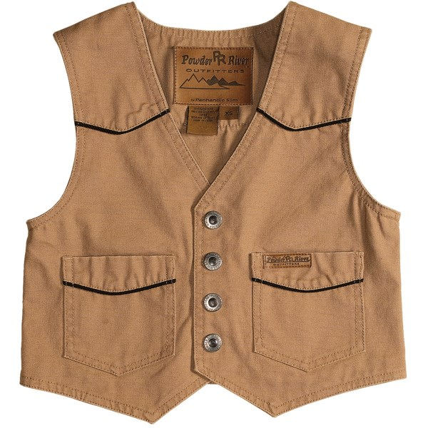 CLOSEOUTS . Nothing goes better with Powder River Outfitters' Lil' Colt vest than a handsome cowboy hat and a pair of boots. Available Colors: BLACK, BROWN W/TAN TRIM, TAN, GREEN, MOSS GREEN, KHAKI, NAVY, RED, RED/DARK BROWN, BLACK/TAN, TAN/BROWN, BROWN/TAN, MERLOT, 53 FUCHSIA, RED BROWN, BROWN. Sizes: XS, S, M, L, XL.
