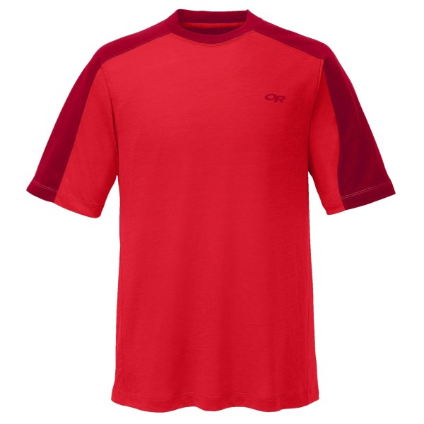 CLOSEOUTS . The Outdoor Research Sequence Duo T-shirt is lightweight, breathable, moisture wicking and fast drying, making it an excellent choice for active individuals. Available Colors: BURNT ORANGE/ESPRESSO, ARTICHOKE/PEAT, PEAT/BLACK, BURNT ORANGE/SLATE, LATITUDE/TRUE BLUE, DIABLO/MUSHROOM, MUSHROOM/ESPRESSO, EMBER/DIABLO, LEAF/SITKA, WALNUT/MUSHROOM, PEWTER/BLACK, PINON/LEAF, HOT SAUCE/REDWOOD, GLACIER/ABYSS. Sizes: XS, S, M, L, XL, 2XL, 2XS.
