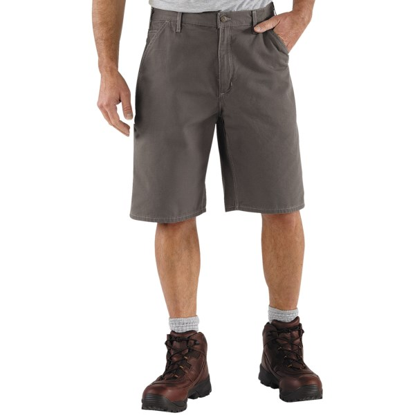 2NDS . One of their original workhorses, Carhartt's canvas work shorts are made of 8.5 oz. ring-spun cotton canvas, and have plenty of room for holding tools. Available Colors: CHARCOAL, GOLDEN KHAKI, 03, MUSHROOM, MOSS.