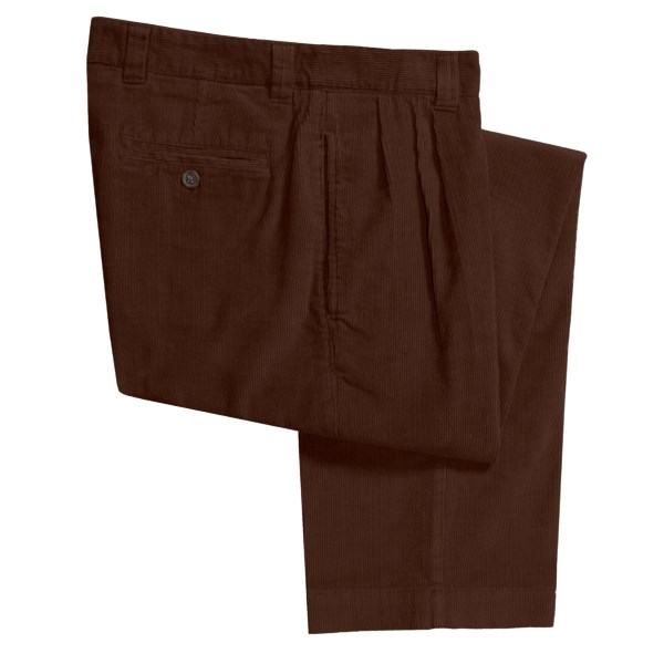 CLOSEOUTS . The soft, velvety hand and thick texture of Berle's corduroy pants wards off chills with a mid-size wale. Available Colors: CHOCOLATE, SADDLE, BLACK.