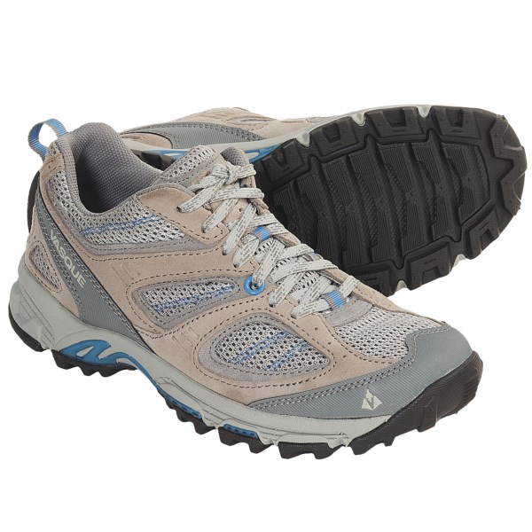CLOSEOUTS . Vasque Opportunist low trail shoes take advantage of every asset to provide the highest level of comfort and support when you venture off the beaten path. Available Colors: MINERAL GREY/AZURE BLUE, BUTTERNUT/PALM. Sizes: 5, 5.5, 6, 6.5, 7, 7.5, 8, 8.5, 9, 9.5, 10, 10.5, 11.