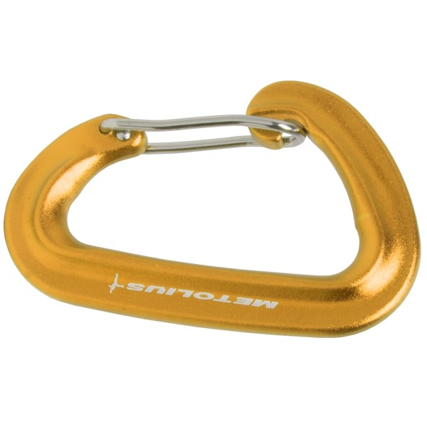 "CLOSEOUTS . The lightweight and full-strength FS Mini Wiregate carabiner from Metolius is perfect for racking gear or creating your own alpine quickdraws.       Hot forged    Individually tested to 50% of rated strength    CE/UIAA certified     Carabiner strength:  22kN     Major axis open gate:  8kN     Major axis:  22kN     Minor axis:  7kN     Gate open clearance:  17mm     Dimensions:  3x2x1_2""     Weight:  23g     Material:  Aluminum    Made in USA     Climbing and other related activities are inherently dangerous; anyone purchasing or using equipment for this purpose is personally responsible for getting proper instruction on its correct and safe use.      Available Colors: GREEN, BROWN, BLACK, BLUE, ORANGE, PURPLE, RED, SILVER, YELLOW."